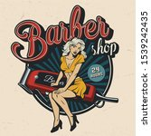 vintage barbershop colorful... | Shutterstock . vector #1539242435
