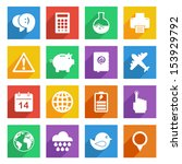 set of bright flat color icons... | Shutterstock .eps vector #153929792