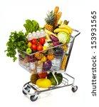 full shopping grocery cart.... | Shutterstock . vector #153931565