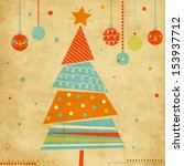 vintage christmas card with... | Shutterstock .eps vector #153937712