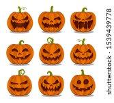 set of pumpkins for halloween... | Shutterstock .eps vector #1539439778