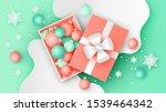 christmas balls inside a gift... | Shutterstock .eps vector #1539464342
