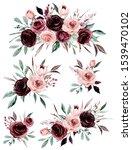 set watercolor flowers painting ...   Shutterstock . vector #1539470102