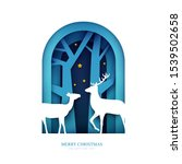 silhouettes two deer in paper... | Shutterstock .eps vector #1539502658