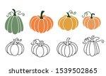 A Set Of Pumpkins In Various...