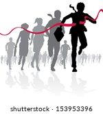 businessman crossing the finish ... | Shutterstock . vector #153953396