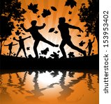 boys playing in the autumn... | Shutterstock . vector #153953402