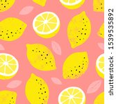 lemon seamless pattern. trendy... | Shutterstock .eps vector #1539535892