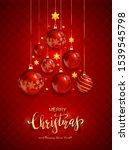 christmas balls and shiny stars ... | Shutterstock .eps vector #1539545798