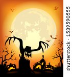 halloween background with scary ... | Shutterstock .eps vector #1539590555