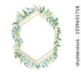 watercolor greenery foliage... | Shutterstock . vector #1539631718