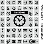clocks icons set on grey  | Shutterstock .eps vector #153967022