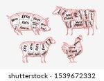 meat cutting scheme. butcher... | Shutterstock .eps vector #1539672332