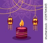 candle lantern happy diwali... | Shutterstock .eps vector #1539704345
