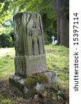 Stock photo decorated anglo saxon stone cross in graveyard 15397114