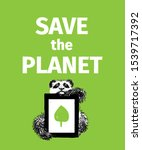 panda with a message. save the... | Shutterstock .eps vector #1539717392