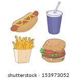drawn fast food | Shutterstock .eps vector #153973052