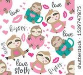 Stock vector seamless designs with cute sloth bear cartoons 1539747875