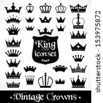 Crowns vintage set. - stock vector