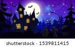 halloween old creepy mansion... | Shutterstock .eps vector #1539811415