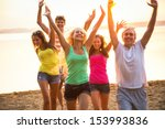 group of young people at the... | Shutterstock . vector #153993836
