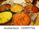 selection of indian food with... | Shutterstock . vector #153997736