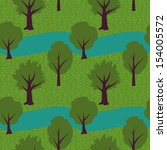 seamless pattern with trees and ... | Shutterstock .eps vector #154005572