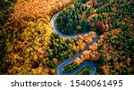 Aerial View Of Curvy Road In...
