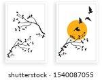 tree with flying birds... | Shutterstock .eps vector #1540087055