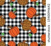 leopard and orange pumpkins on ... | Shutterstock .eps vector #1540094642