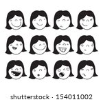 set of cartoon faces of a girl... | Shutterstock .eps vector #154011002