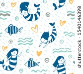 seamless pattern with mermaids... | Shutterstock .eps vector #1540146398