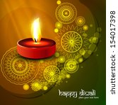 beautiful diwali colorful art... | Shutterstock .eps vector #154017398