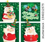 polar bear with merry christmas ... | Shutterstock .eps vector #1540212575