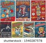 Vintage College Posters Set...