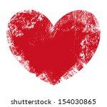 valentine heart   grunge vector ... | Shutterstock .eps vector #154030865