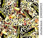 modern leopard and chain... | Shutterstock . vector #1540334915