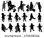 toddlers silhouettes collection | Shutterstock .eps vector #154038266