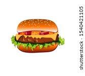 tasty big burger realistic.... | Shutterstock .eps vector #1540421105