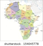 continental map of africa with... | Shutterstock . vector #154045778