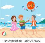 happy in summer | Shutterstock .eps vector #154047602