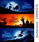 three scary vector halloween... | Shutterstock .eps vector #154053176