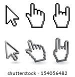 cursor pixel   arrow and hand 3d | Shutterstock . vector #154056482