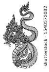 tattoo art thai snake pattern... | Shutterstock . vector #1540572032