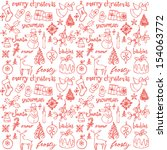 Christmas Doodle Icons Seamles...