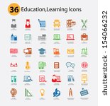 education icons colorful... | Shutterstock .eps vector #154066232