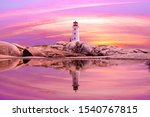 Sunset At Peggy\'s Cove In...