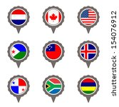 set of map flag icon  vector  | Shutterstock .eps vector #154076912