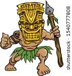 Warrior Wearing A Tiki Mask