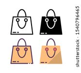 shopping bag icon. with outline ...